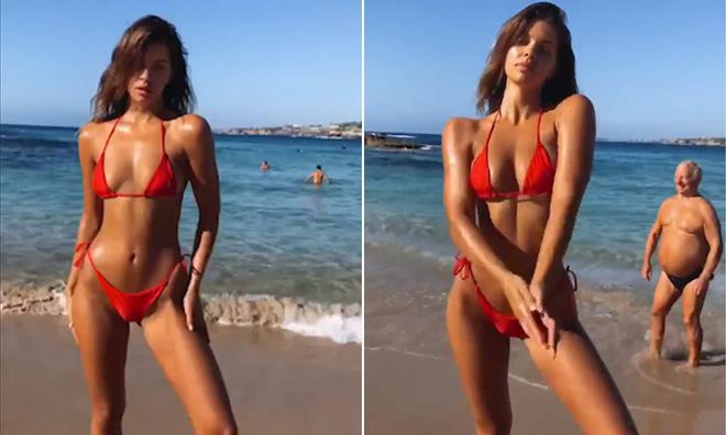 Người mẫu sexy khoe eo thon bên bãi biển, nhưng 20 triệu khán giả lại thích ông chú bụng bia vô tình vào hình hơn-1