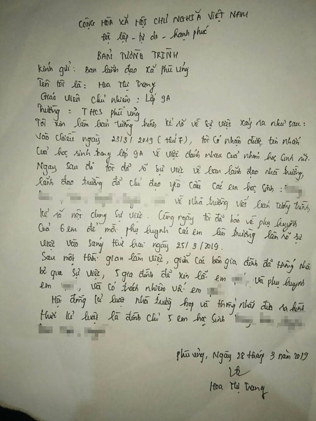 Bức xúc với bản tường trình của cô chủ nhiệm lớp nữ sinh bị lột đồ: Tôi có nhận được tin nhắn về việc đánh nhau, 5 gia đình đã xin lỗi em ấy-2