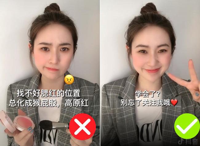 Để không thành trò hề do đánh má hồng quá tay, nàng hot girl Trung Quốc đã áp dụng một thủ thuật siêu đơn giản-1