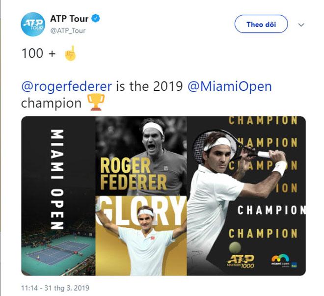 """Federer vô địch Miami Open: Báo chí cạn lời"""", khen Nhà vua quá đẳng cấp-1"""