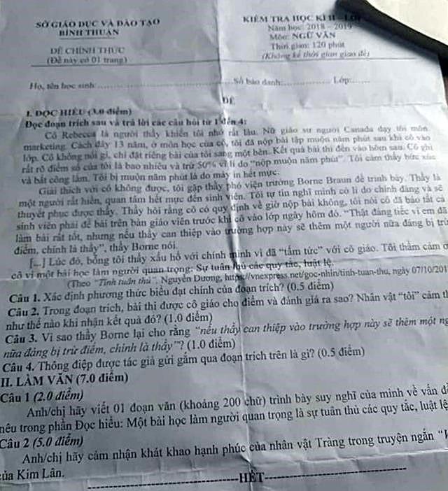28 trường THPT phải hoãn kỳ thi học kỳ vì lộ đề thi môn Ngữ Văn trên mạng-1