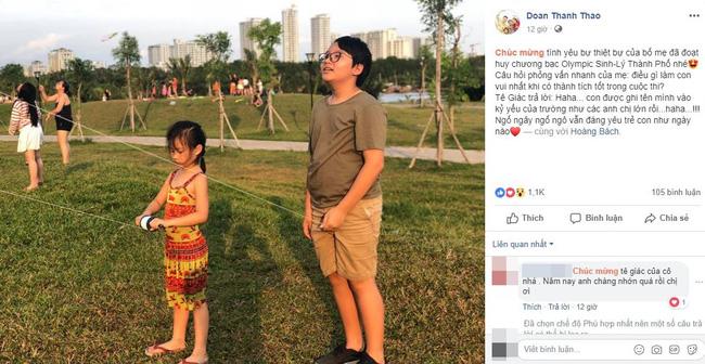 Con trai Hoàng Bách giành HCB Olympic Thành phố, nhưng câu trả lời ngây ngô của cậu bé khi đoạt giải mới thật gây cười-1