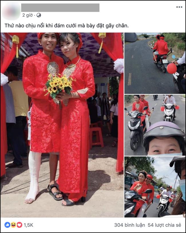 Hình ảnh chú rể bó bột chân, được cô dâu rước bằng xe máy khiến nhiều người vừa thương lại không nhịn được cười-1