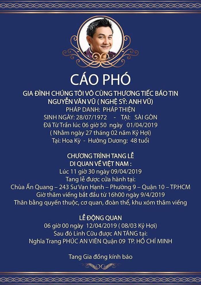 Ốc Thanh Vân gửi lời tiễn biệt đầy xúc động khi không thể về kịp viếng thăm Anh Vũ lần cuối-2