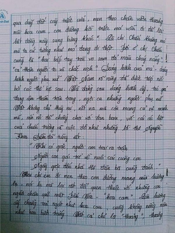 Bài văn 9.5 điểm xuất sắc từ nội dung đến chữ viết, khiến giáo viên bất lực khi viết lời phê-10