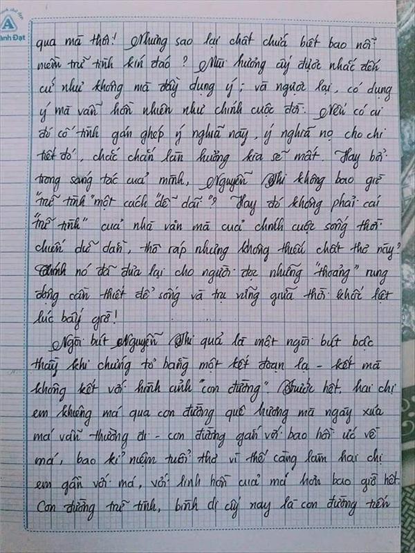 Bài văn 9.5 điểm xuất sắc từ nội dung đến chữ viết, khiến giáo viên bất lực khi viết lời phê-11