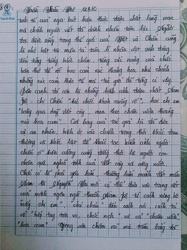 Bài văn 9.5 điểm xuất sắc từ nội dung đến chữ viết, khiến giáo viên bất lực khi viết lời phê-13