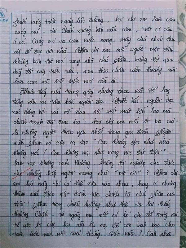 Bài văn 9.5 điểm xuất sắc từ nội dung đến chữ viết, khiến giáo viên bất lực khi viết lời phê-4