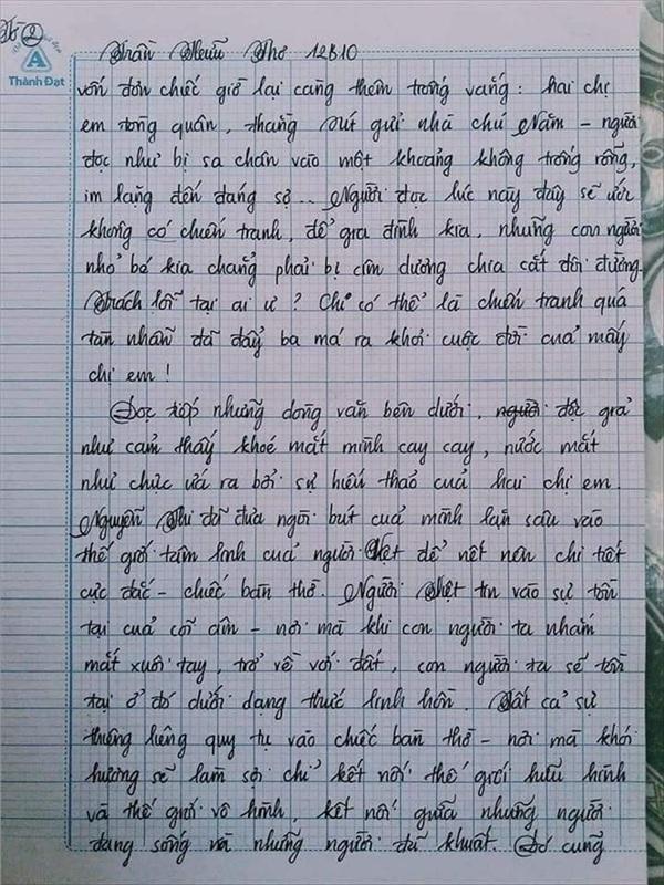 Bài văn 9.5 điểm xuất sắc từ nội dung đến chữ viết, khiến giáo viên bất lực khi viết lời phê-5