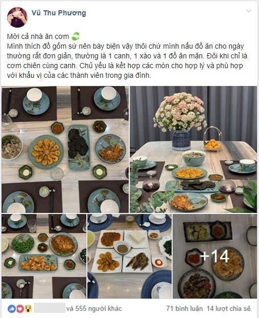 Nấu mâm cơm đơn giản, vợ đảm vẫn khiến chị em trầm trồ vì loạt bát đĩa gốm sứ xinh như đi ăn nhà hàng-1