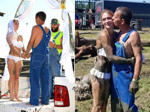 Cô dâu mặc bikini trắng lộ liễu, tổ chức đám cưới trên xe tải gây tranh cãi-1