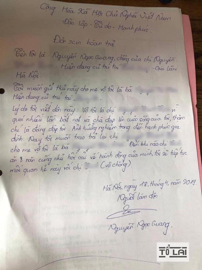 Chán nản vì bị đánh đuổi quanh làng, người đàn ông viết đơn trả vợ về nơi sản xuất-2