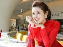 Á hậu Huyền My diện áo dài đỏ nổi bật khi dự sự kiện ở Hàn Quốc
