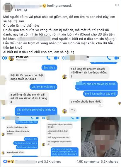 Bức xúc chuyện cô gái nhặt được iPhone không trả còn hồn nhiên nhắn tin xin mật khẩu iCloud để đỡ mất tiền mở khoá-1
