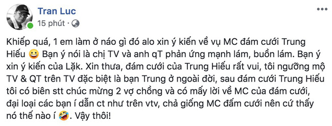 Đạo diễn Trần Lực lên tiếng về việc chê Thảo Vân - Thành Trung giả dối, thớ lợ: Tôi rất đau lòng, chuyện bằng mắt muỗi-1