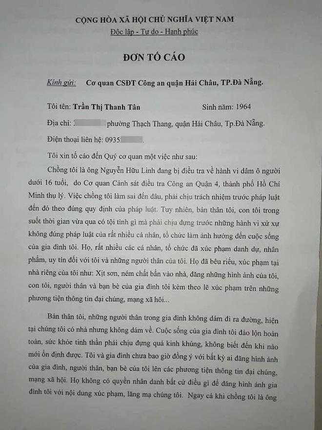 Sau tâm thư, vợ ông Nguyễn Hữu Linh tiếp tục gửi đơn tố cáo về việc bị xúc phạm, lăng mạ-2