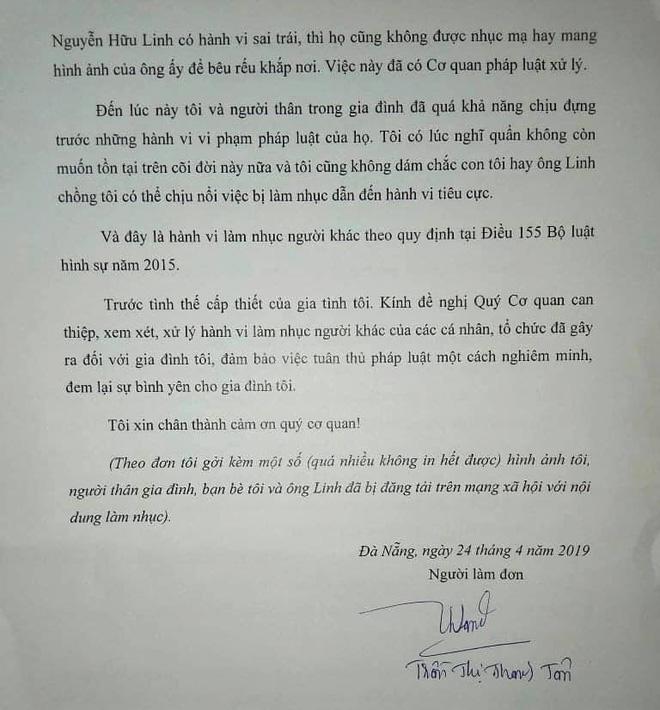 Sau tâm thư, vợ ông Nguyễn Hữu Linh tiếp tục gửi đơn tố cáo về việc bị xúc phạm, lăng mạ-3