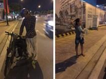 Ông bố nghèo dắt chiếc xe cà tàng vừa đi vừa khóc và hành động bất ngờ của cô gái lạ khiến nghìn người thả tim