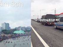 Bãi biển Sầm Sơn nhìn từ trên cao không chỗ trống, đường đi Cát Bà - xe xếp hàng dài dằng dặc dịp lễ
