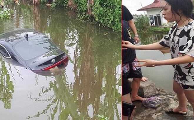 Đạp nhầm chân ga, nữ tài xế xinh đẹp và 4 người lao xuống mương ở Nam Định-1