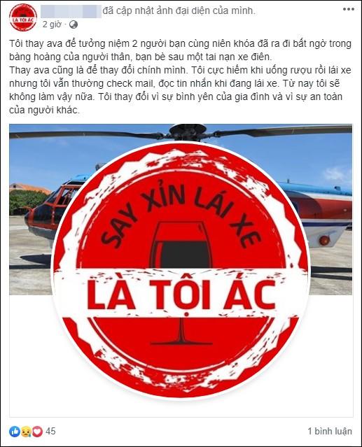 Sau tai nạn thương tâm ở hầm Kim Liên, cộng đồng mạng đồng loạt thay avatar Facebook với thông điệp: Say xỉn lái xe là tội ác!-3