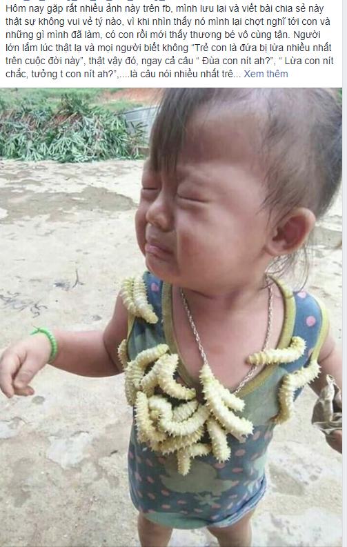 Biểu cảm của em bé khi bị lũ tằm bò lên người gây sốt MXH hôm nay, câu chuyện phía sau gây tranh cãi dữ dội-1