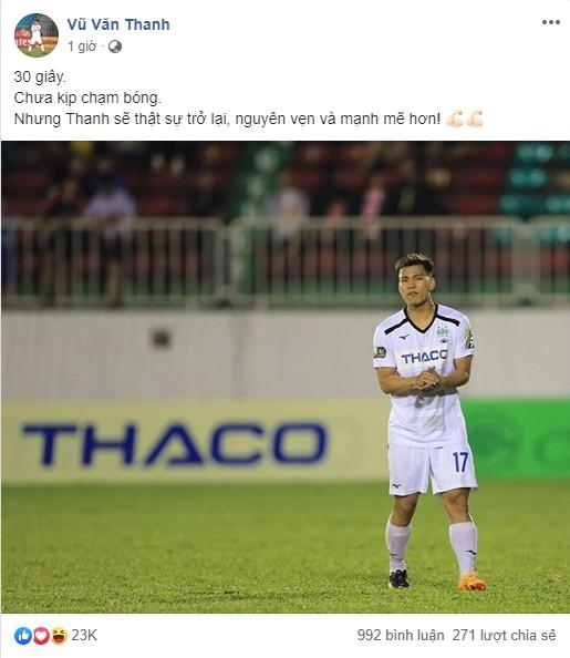 Đăng ảnh kỷ niệm ngày trở lại với V.League, Văn Thanh nhận được lời chúc cực mặn từ Đức Huy-1