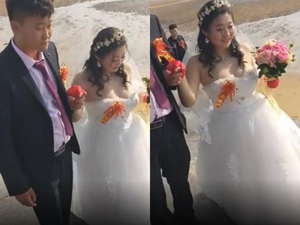 Cô dâu ngực một mét khiến váy cưới như bung ra đến nơi, thợ ảnh không biết nhìn đâu-1
