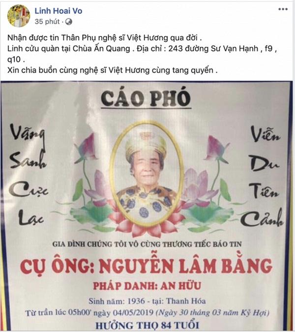 Sao Việt chia buồn với Việt Hương trước tin bố cô qua đời-1