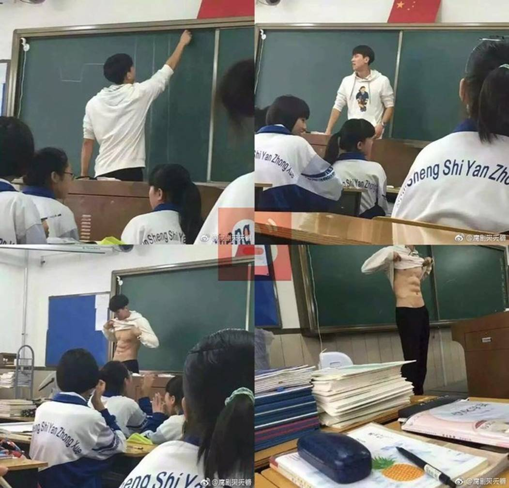 Thầy giáo vén áo khoe cơ bụng đốt mắt ngay trên bục giảng, lý lịch thật còn khiến chị em phát cuồng hơn-1
