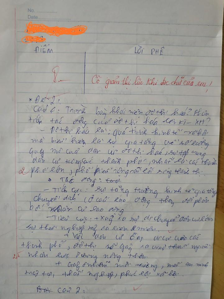 Làm bài kiểm tra chữ xấu hơn gà bới, cô giáo phê một câu cực đắt khiến học sinh phải tự thấy xấu hổ-1