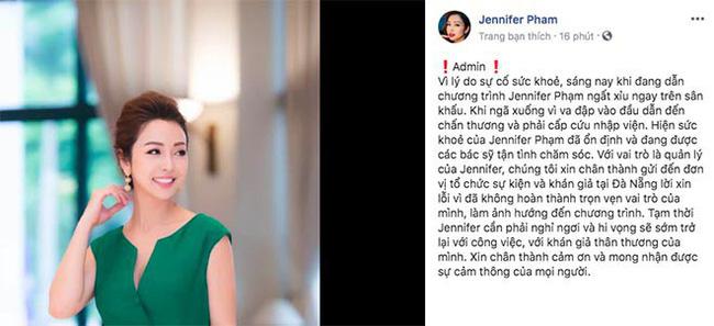 Đang dẫn chương trình, Jennifer Phạm đột ngột ngất xỉu, đập đầu chấn thương phải cấp cứu-1