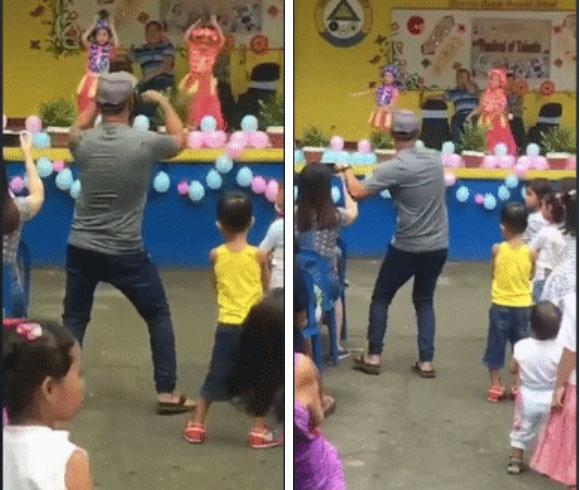 Con gái diễn văn nghệ, bố phía dưới nhiệt tình uốn éo nhảy theo giúp đứa trẻ bớt căng thẳng, được dân mạng phong luôn làm ông bố của năm-1