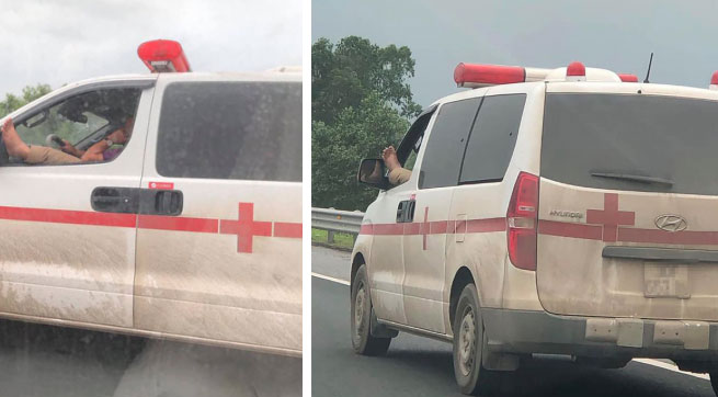 Chạy qua xe cứu thương, nhiều người không khỏi giật mình với cảnh tượng diễn ra trước mắt-2