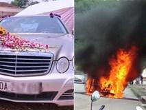 Sốc: ''Xế hộp'' tiền tỷ Mercedes đi đón dâu bỗng bốc cháy giữa đường khiến nhiều người kinh hãi