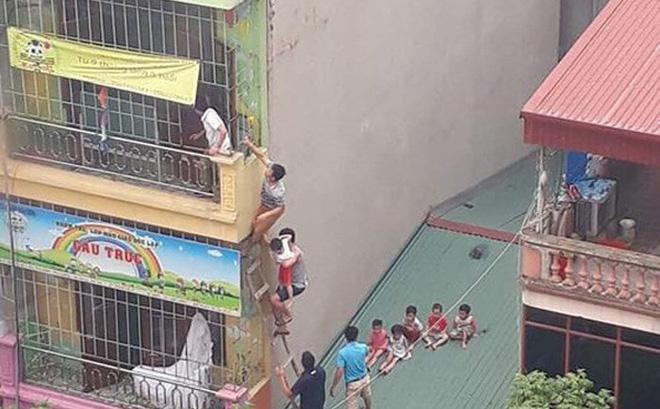 Cháy trường mầm non tư thục, người dân trèo tầng 4 giải cứu nhiều học sinh-1
