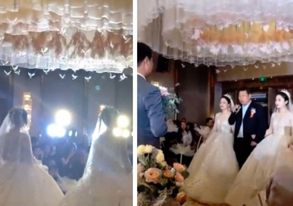 Tổ chức đám cưới cùng ngày, chị em cô dâu chơi chiêu đến nỗi chú rể cũng nhận nhầm vợ-2