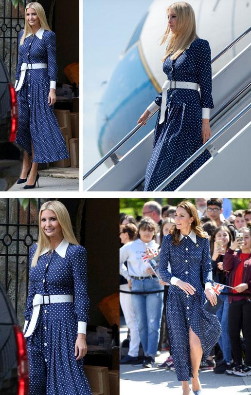 Lần diện đồ cũ này của Công nương Kate quá đặc biệt: Đụng hàng với ái nữ Tổng thống Trump và giống đến 80% váy của mẹ chồng-5