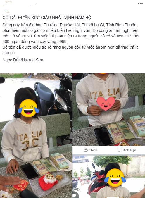 Cô gái 'ăn xin' bị công an bắt giữ vì trong người mang hơn 103 triệu và 5 cây vàng 9999?-1