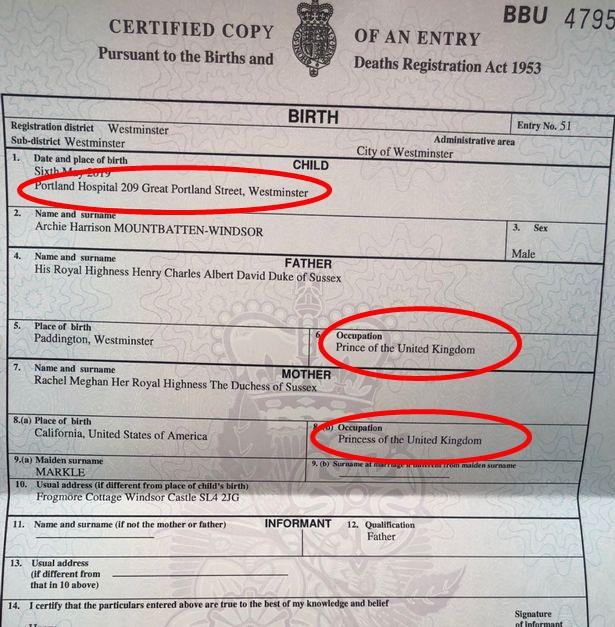 Sau nhiều đồn đoán, cuối cùng Meghan cũng chịu công bố giấy khai sinh của con trai đầu lòng-2