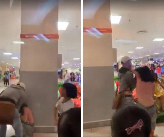 Clip: Nam thanh niên giằng co, lên gối thụi vào mặt cô gái giữa trung tâm thương mại, nhiều người chứng kiến chỉ bàn tán quay phim-2