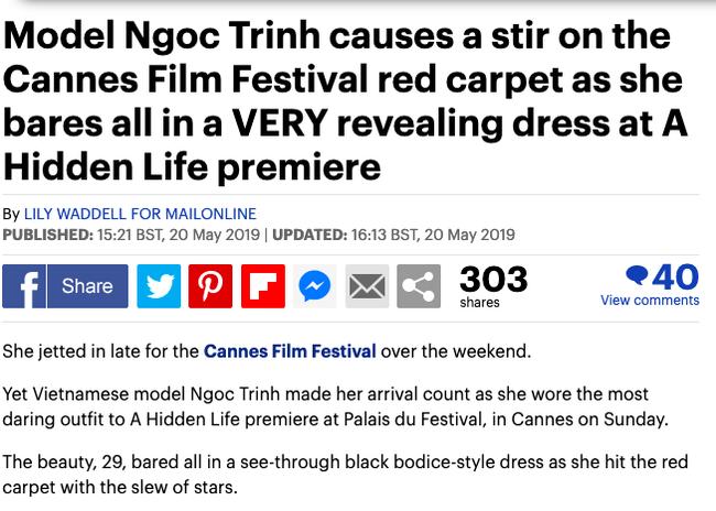 Báo Anh soi cận cảnh màn xuất hiện không nội y của Ngọc Trinh trên thảm đỏ Cannes 2019-1