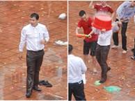 Xuống sân trường quẩy với học sinh ngày bế giảng, thầy hiệu phó bị ụp nguyên xô nước vào người, ướt như chuột lột