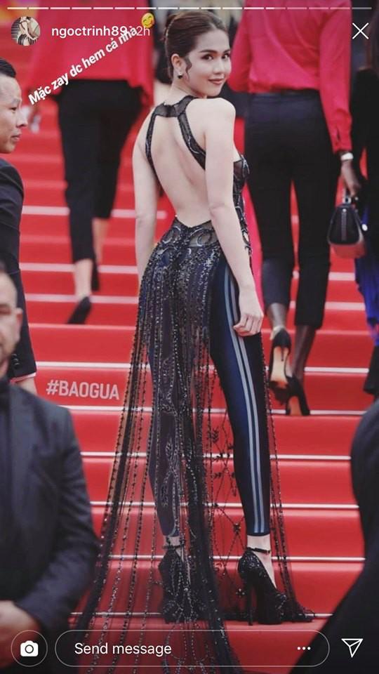 Ngọc Trinh lầy hội tự đăng loạt ảnh dân mạng quây váy, đội nón bảo hiểm che chắn kỹ càng cho mình trên thảm đỏ Cannes-2