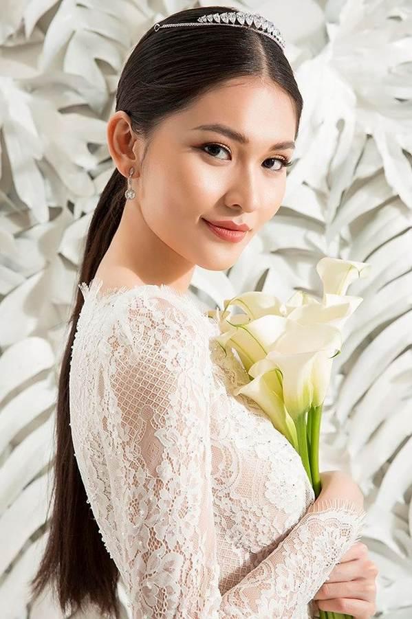 Sau khi công khai bạn trai, Á hậu Thuỳ Dung gợi cảm với váy cưới xuyên thấu-1
