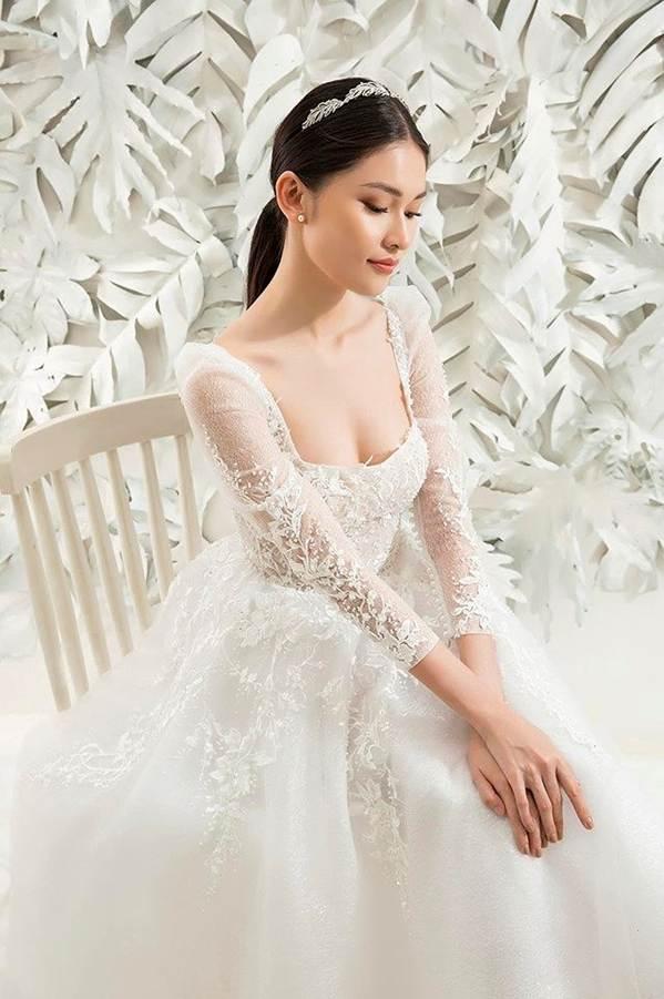 Sau khi công khai bạn trai, Á hậu Thuỳ Dung gợi cảm với váy cưới xuyên thấu-2
