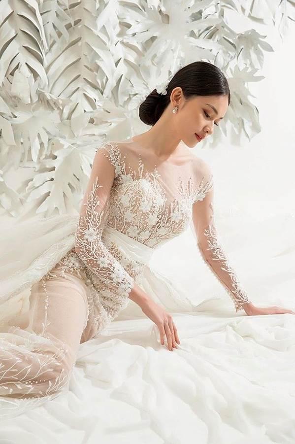 Sau khi công khai bạn trai, Á hậu Thuỳ Dung gợi cảm với váy cưới xuyên thấu-4