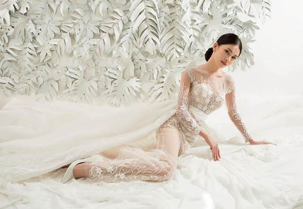 Sau khi công khai bạn trai, Á hậu Thuỳ Dung gợi cảm với váy cưới xuyên thấu-5