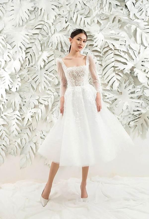 Sau khi công khai bạn trai, Á hậu Thuỳ Dung gợi cảm với váy cưới xuyên thấu-7