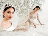 Sau khi công khai bạn trai, Á hậu Thuỳ Dung gợi cảm với váy cưới xuyên thấu